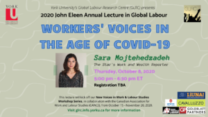 John Eleen Annual Lecture in Global Labour: Workers' Voices in the Age of COVID-19